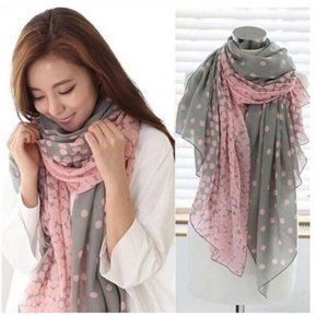 LAST ONE! Grey and Pink Polka Dot Scarf